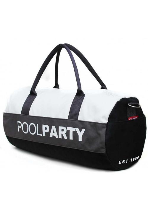 Спортивная сумка Poolparty Gymbag White Grey Black