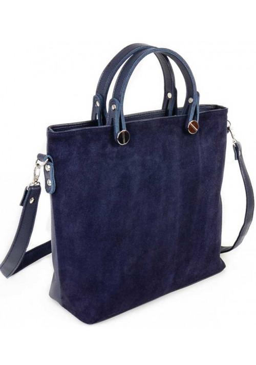 Брендовая женская сумка замшевая Камелия синяя