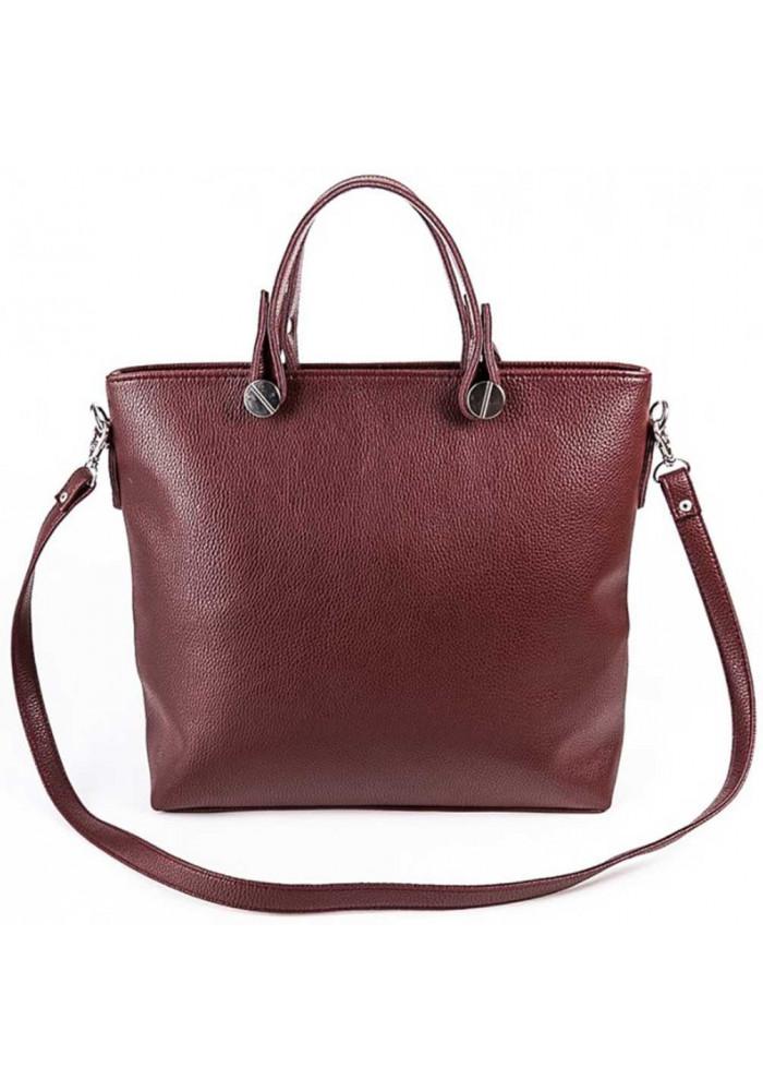 Брендовая женская сумка Камелия бордовая матовая