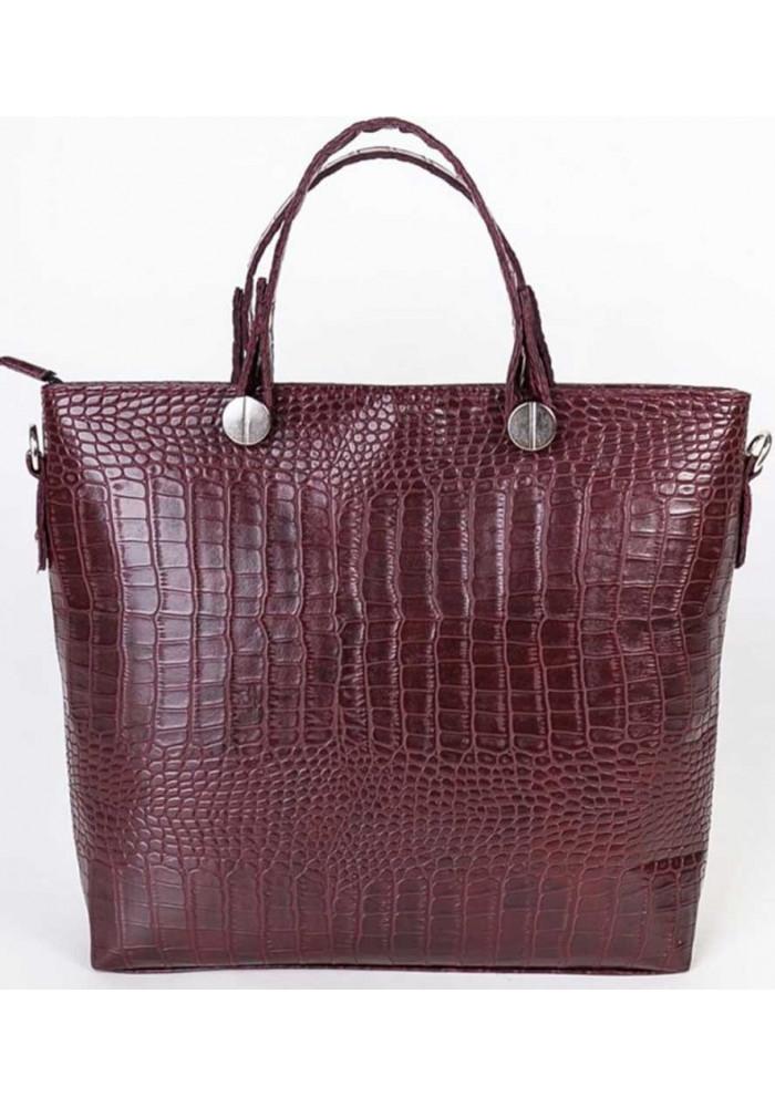 Брендовая женская сумка Камелия бордовая рептилия