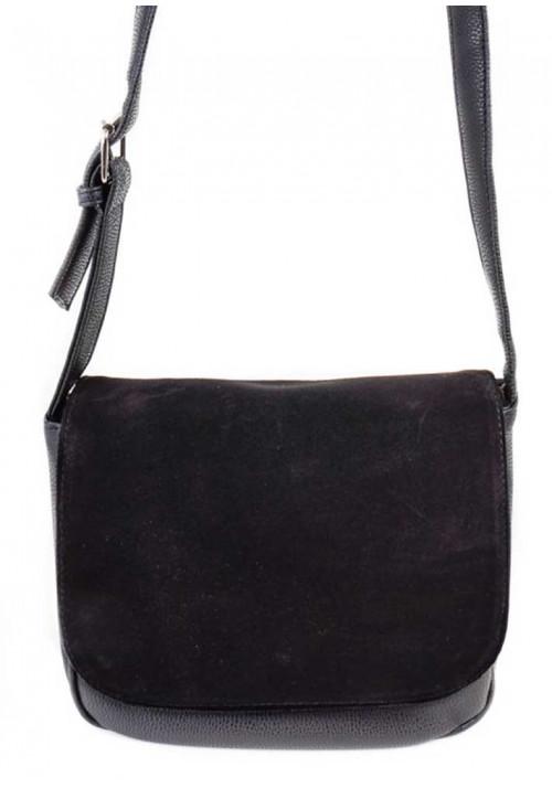 Замшевая сумка клатч женская Камелия черная