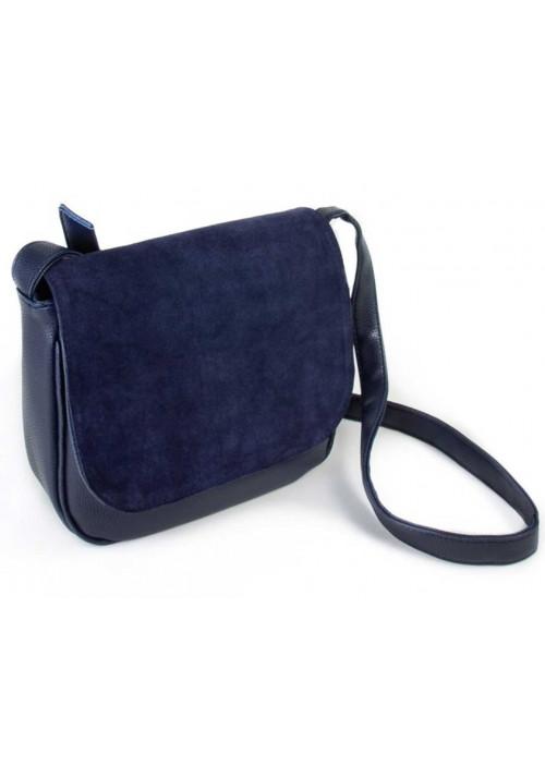 Замшевая сумка клатч женская Камелия синяя