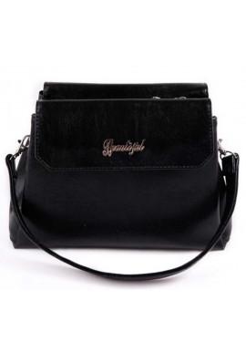 Фото Мини сумочка клатч Камелия черный глянцевый М126-Z