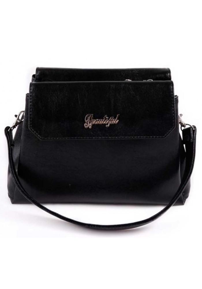 Мини сумочка клатч женский Камелия черный глянцевый