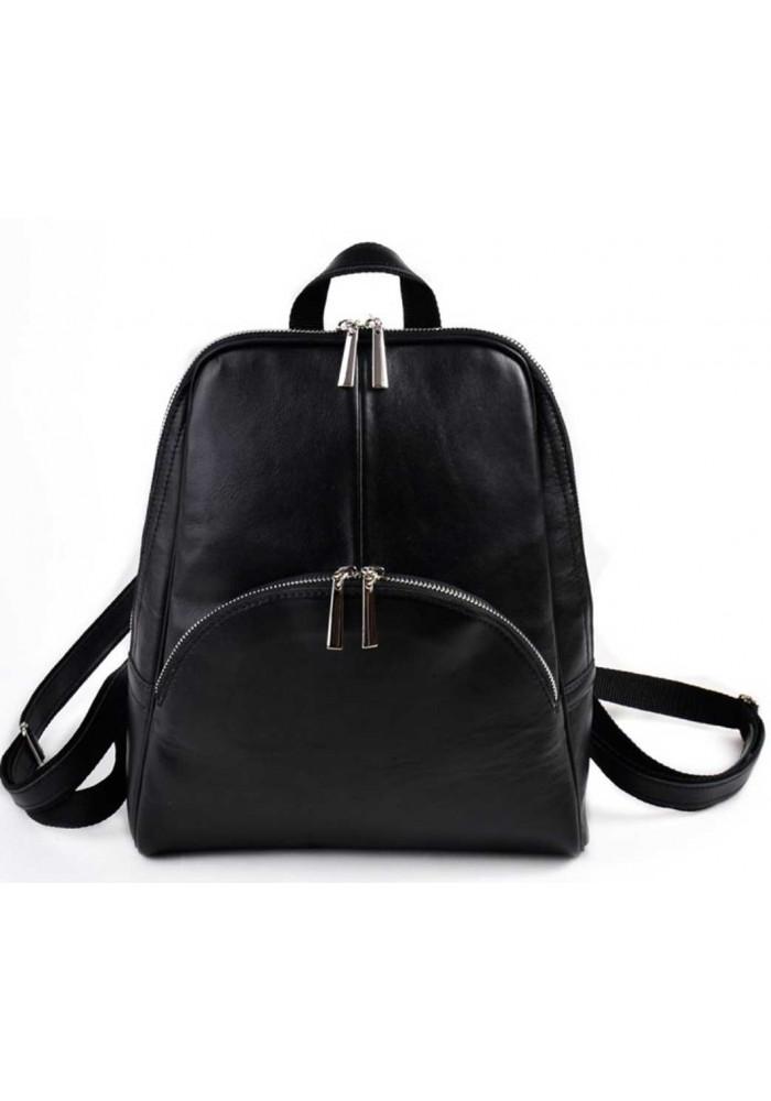 Кожаный женский рюкзак Камелия черный