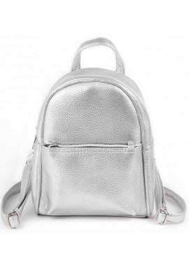 Фото Маленький женский рюкзак Камелия серебряный