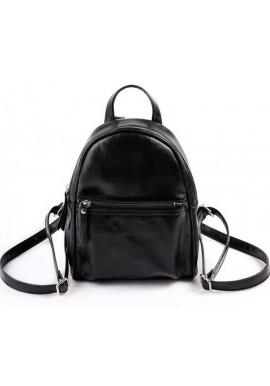 Фото Маленький женский рюкзак Камелия черный глянцевый