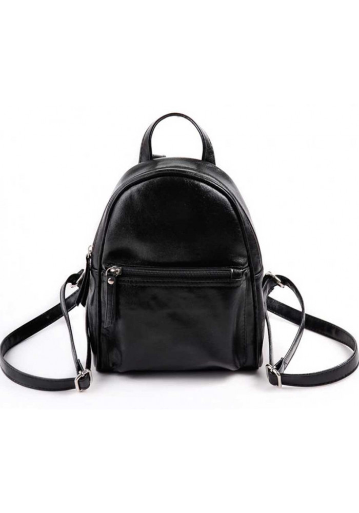 Маленький женский рюкзак Камелия черный глянцевый