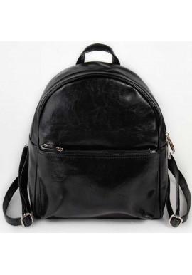 Фото Блестящий женский рюкзак Камелия черного цвета
