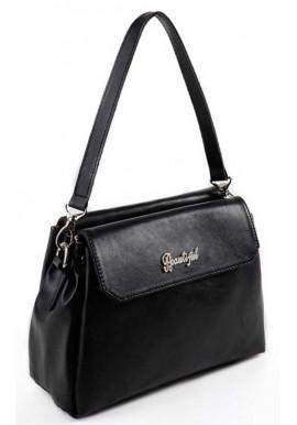 Фото Кожаная мини сумочка клатч женский Камелия черный