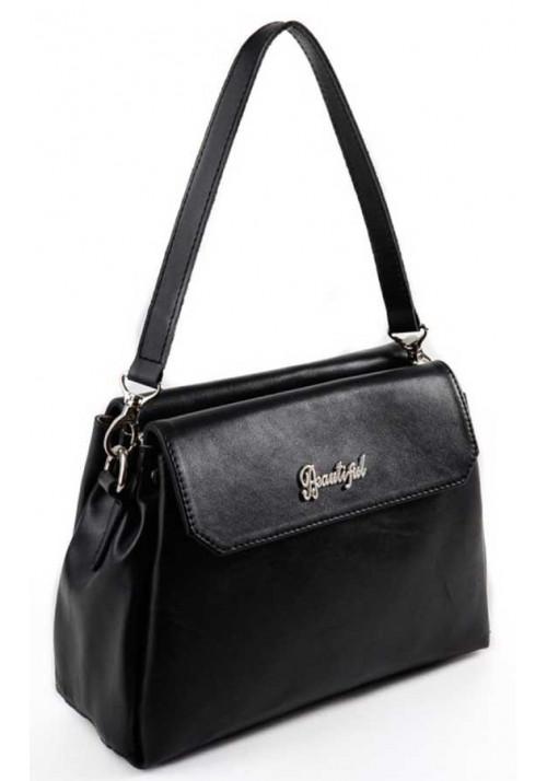 Кожаная мини сумочка клатч женский Камелия черный