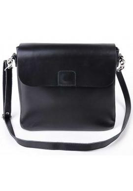 Фото Кожаная женская сумка почтальон Камелия черная