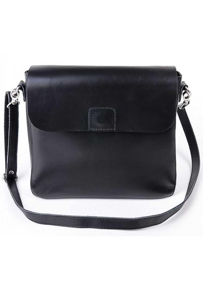 Кожаная женская сумка почтальон Камелия черная