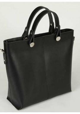Фото Кожаная женская сумка шопер Камелия черная