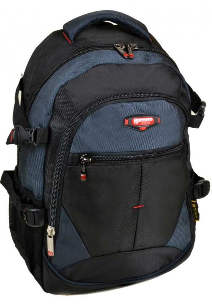 Черно- синий городской рюкзак 9612 black blue