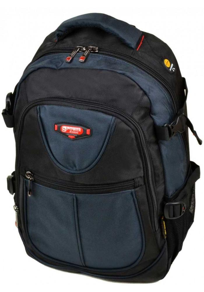 Сине-черный городской рюкзак 9602 black blue