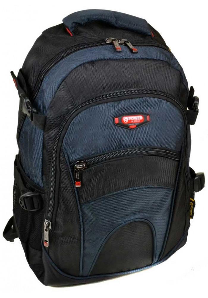 Сине-черный городской рюкзак 9609 black blue