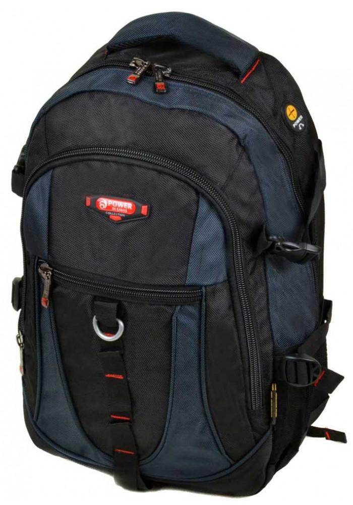 Большой черно-синий городской рюкзак 9608 black blue
