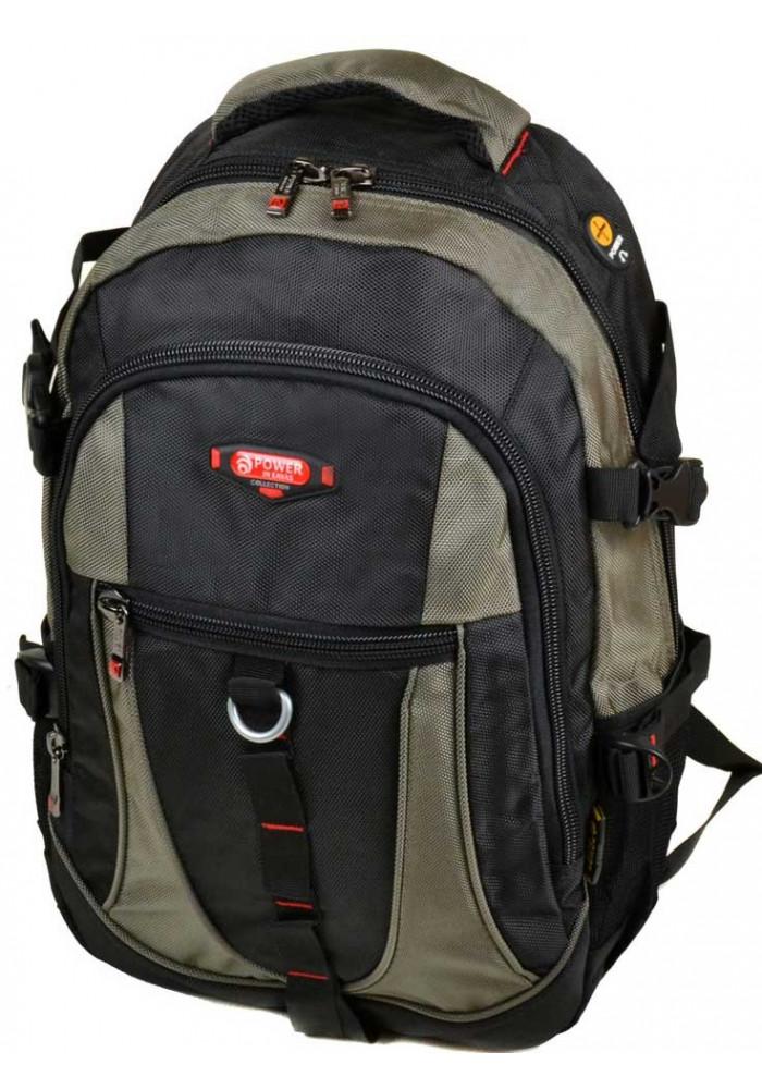 Объемный черно-зеленый городской рюкзак 9608 green