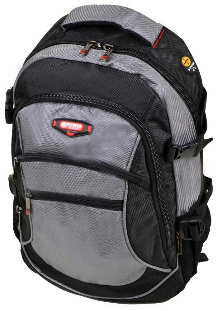 Серый городской рюкзак с двумя карманами 9617 grey