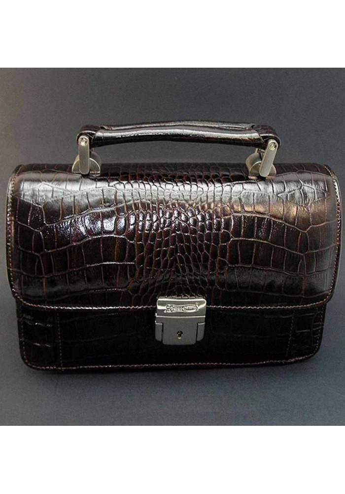 Коричневая кожаная мужская барсетка кроко Desisan 038-11