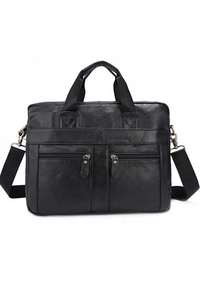 Черный мужской кожаный портфель 3219