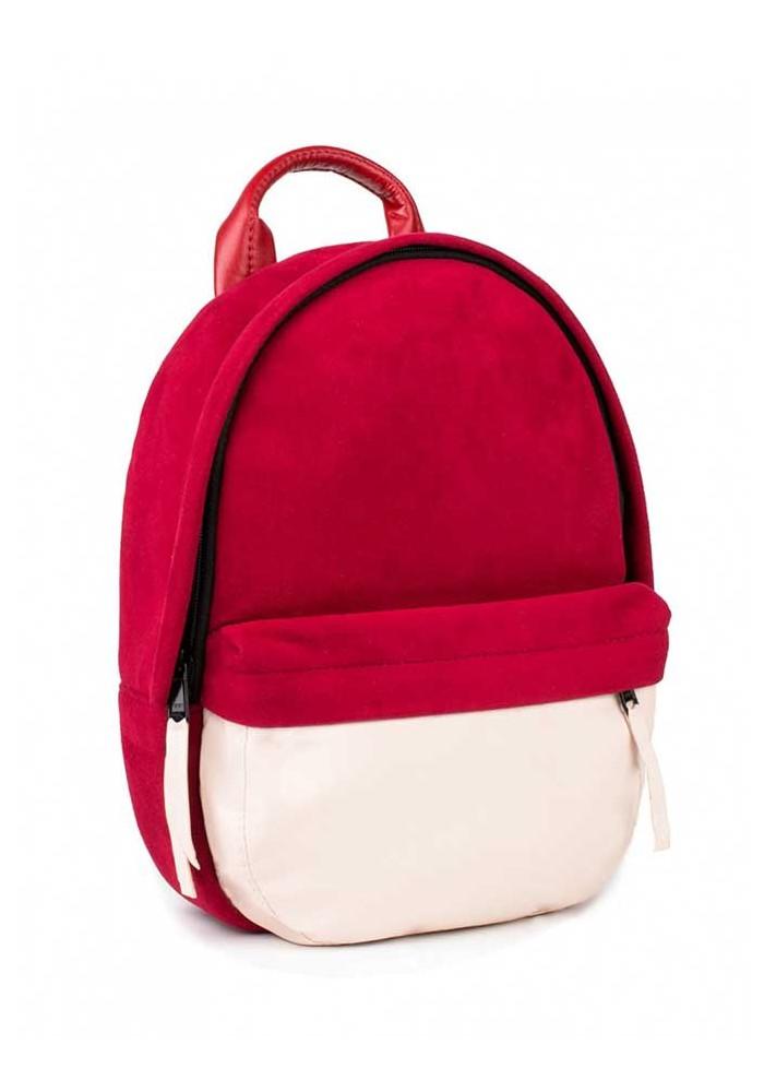 Замшевый красный женский рюкзак BBAG CAPSULE MINI RED POWDER