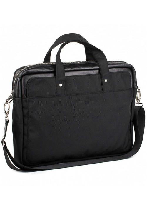 Черная деловая сумка из кордура и кожи BBAG BRONX BLACK