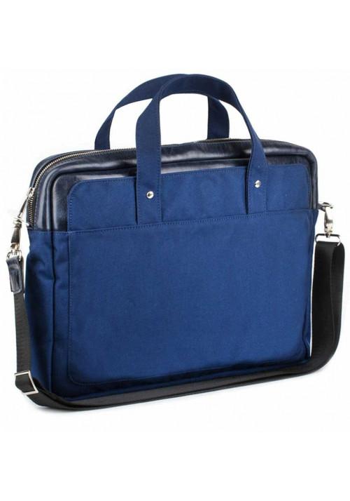 Синяя деловая сумка из кордура и кожи BBAG BRONX NAVY BLUE