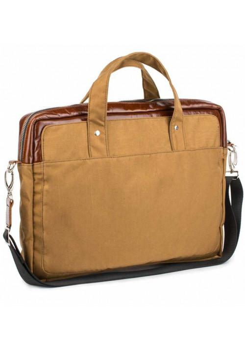 Желто-коричневая деловая сумка из кордура и кожи BBAG BRONX RED