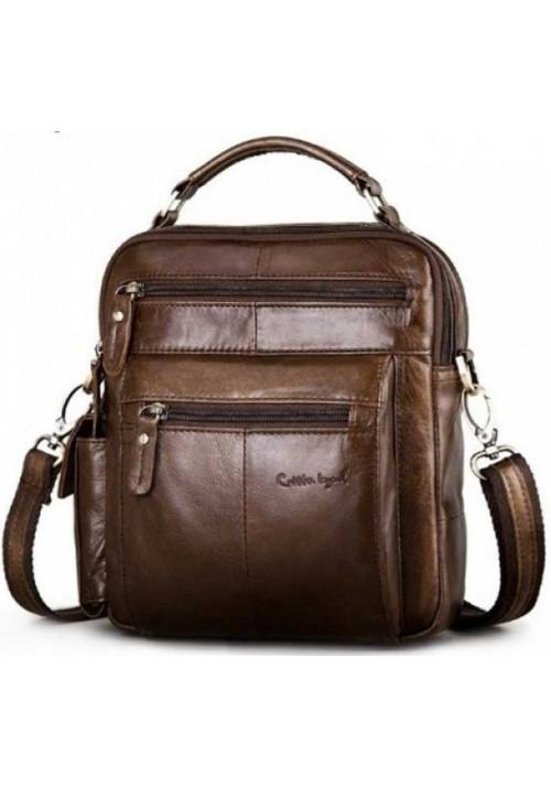 Коричневая мужская сумка через плечо 577G