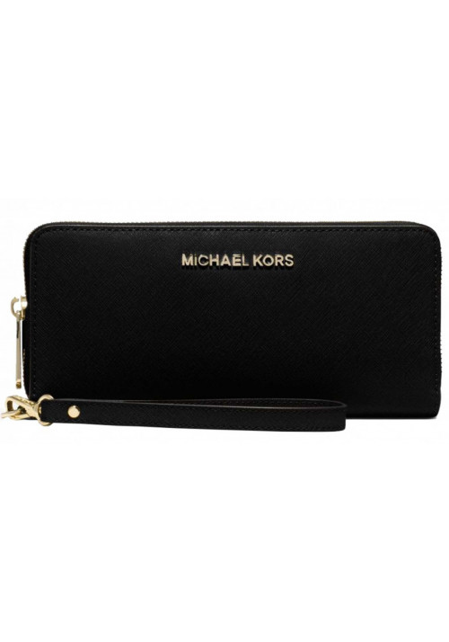 Женский кошелек с ручкой MK Jet Set Travel Continental Wallet Black