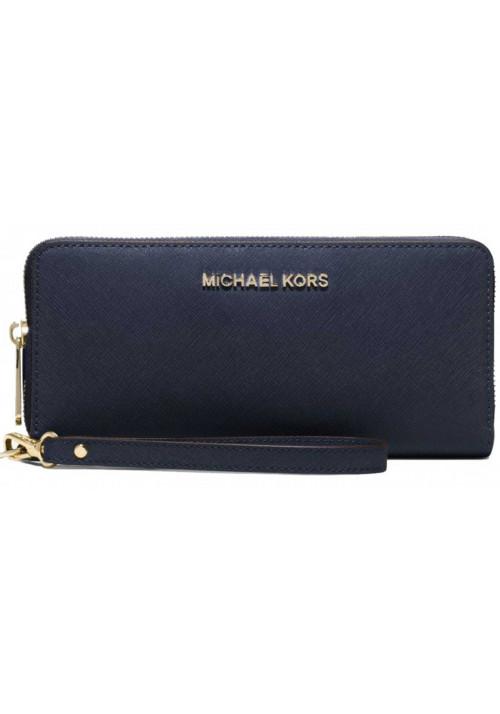 Женский кошелек с ручкой MK Jet Set Travel Continental Wallet Blue