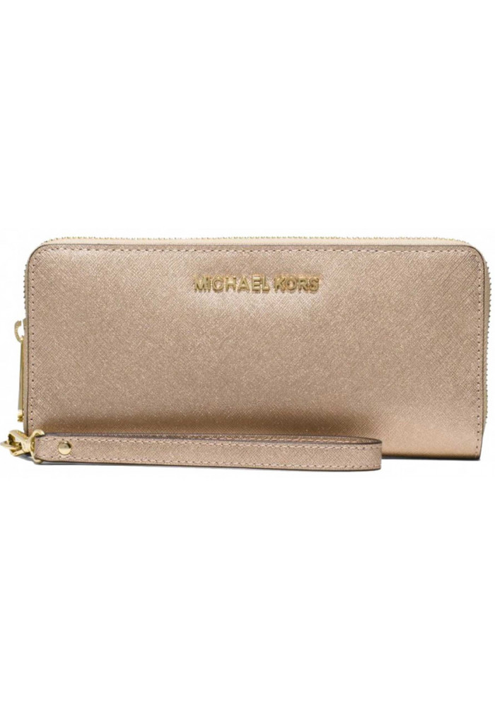 Женский кошелек с ручкой MK Jet Set Travel Continental Wallet Gold