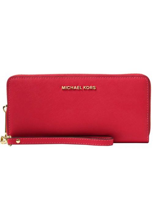 Женский кошелек с ручкой MK Jet Set Travel Continental Wallet Red