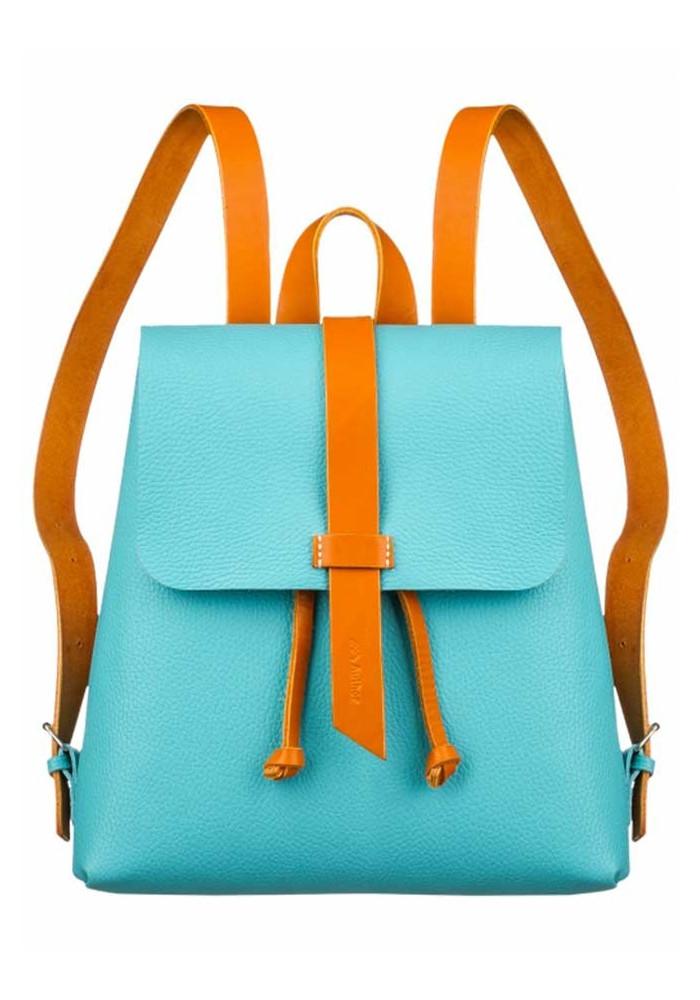Женский рюкзак Глория бирюзовый с рыжими лямками