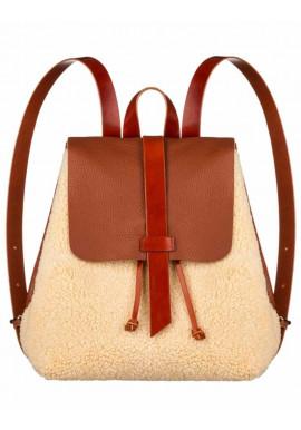 Фото Женский меховой рюкзак Глория коричнево-бежевый