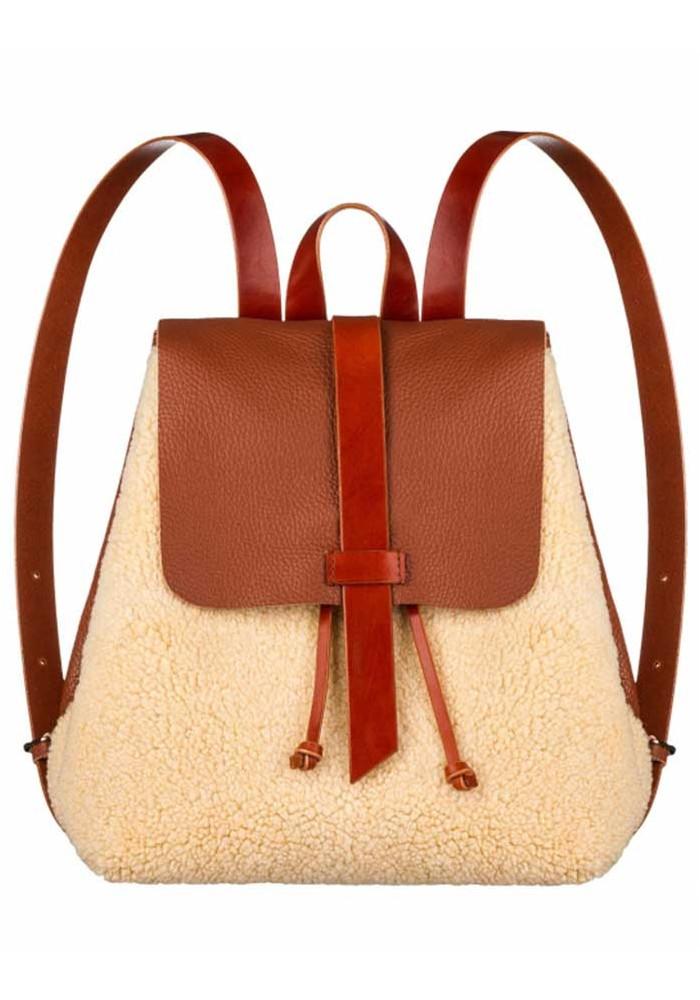 Женский меховой рюкзак Глория коричнево-бежевый