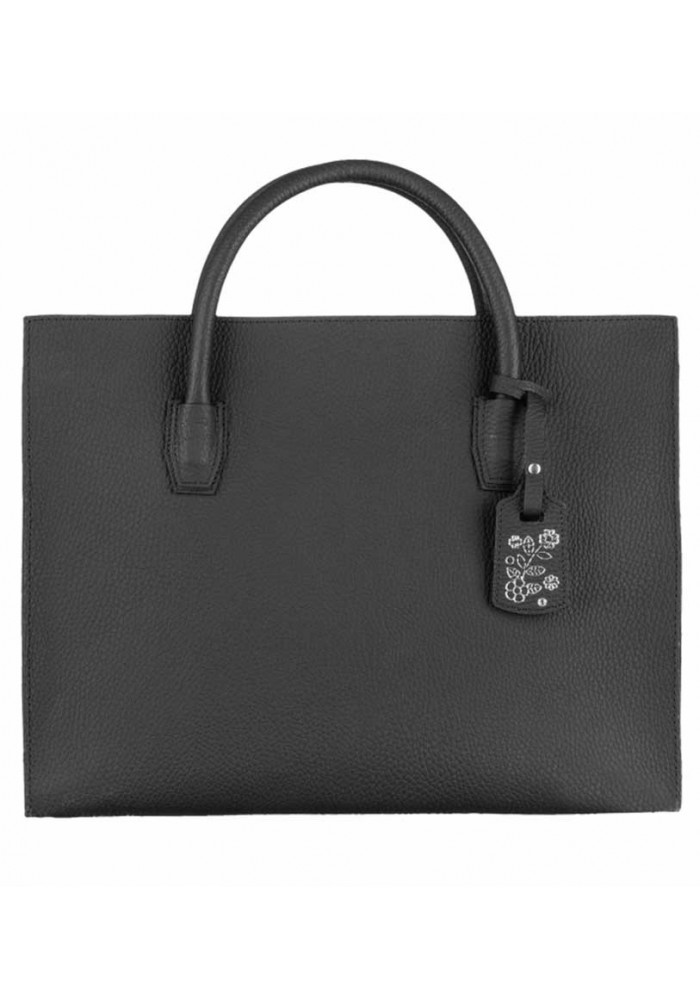 Женская черная кожаная сумочка Лаура