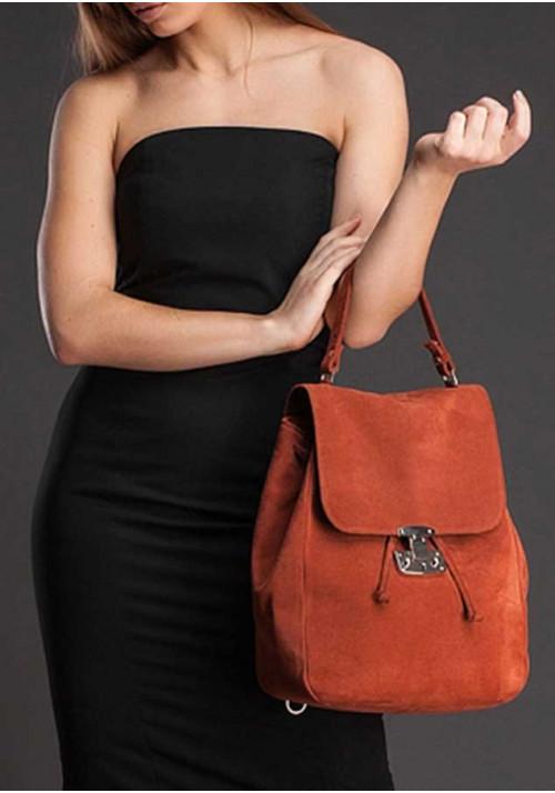 Женская замшевая сумка-трансформер Юта рыжая