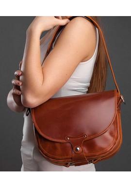Фото Женская кожаная сумка через плечо Saddle bag NY коньяк