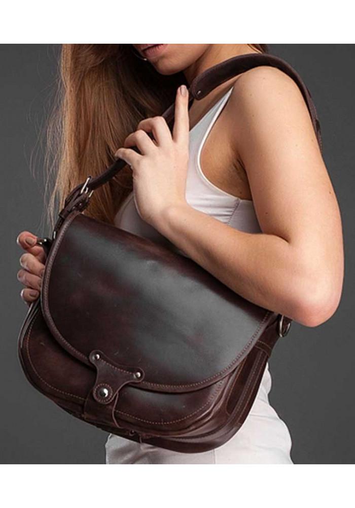 Женская кожаная сумка через плечо Saddle bag NY коричневая
