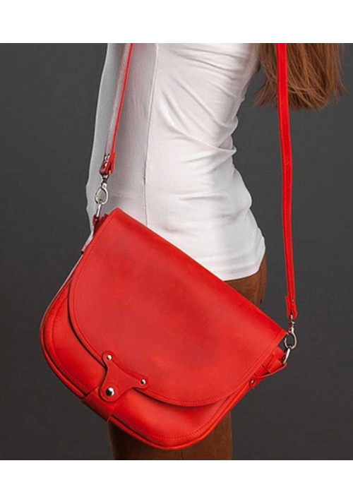 Женская кожаная сумка через плечо Saddle bag NY красная