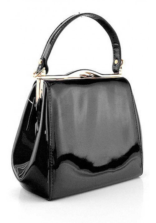Женская черная лаковая сумка Rose Heart 6839