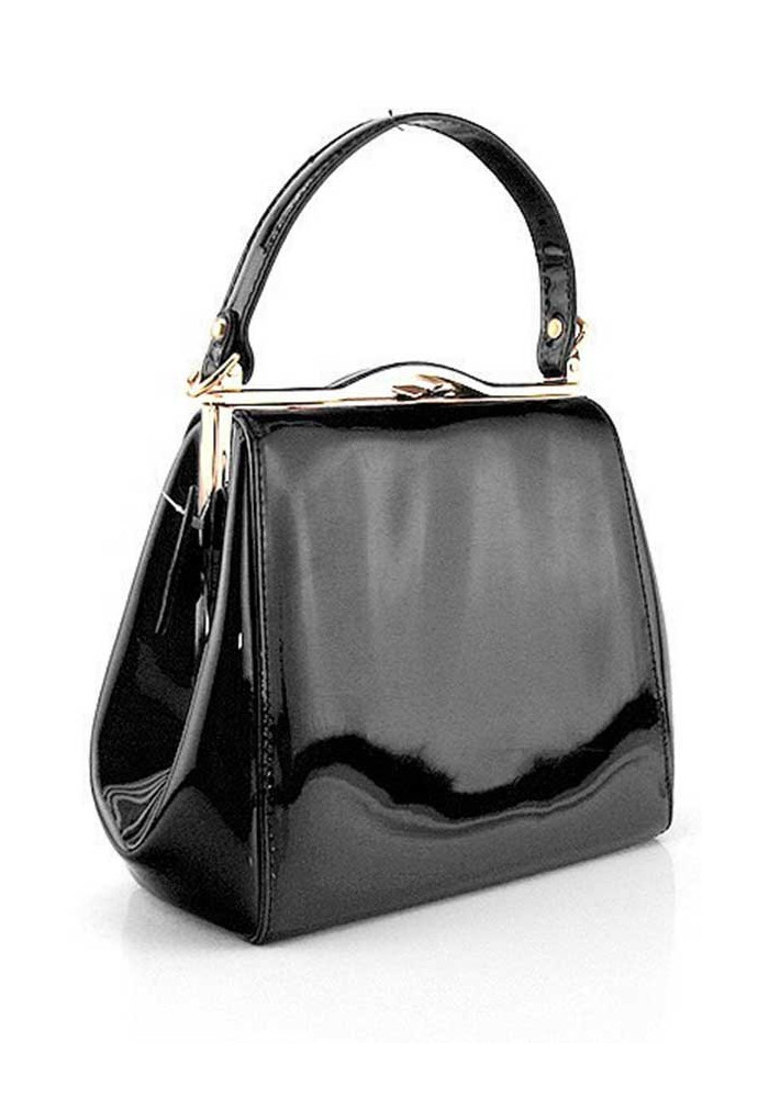 Фото Женская черная лаковая сумка Rose Heart 6839