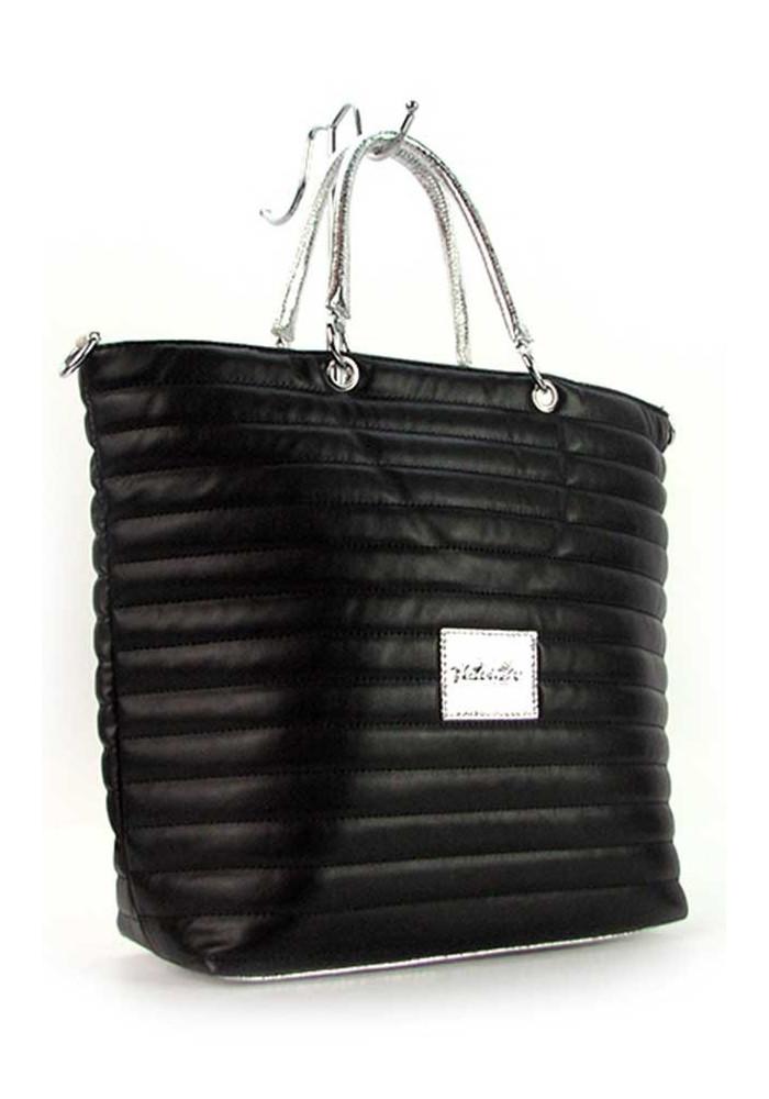 Черная женская сумка с серебром Valenciy 20729s