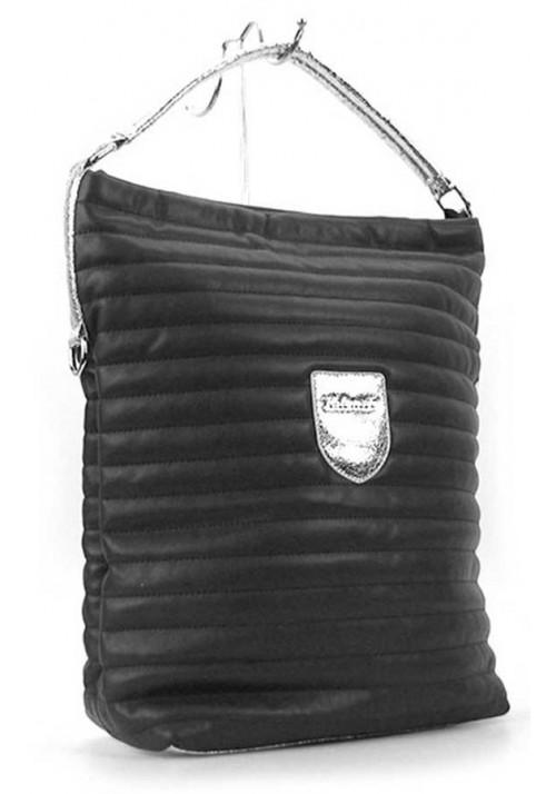 Вертикальная черная женская сумка с серебром Valenciy 20718s