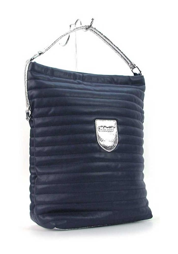 Фото Вертикальная синяя женская сумка с серебром Valenciy 20718s