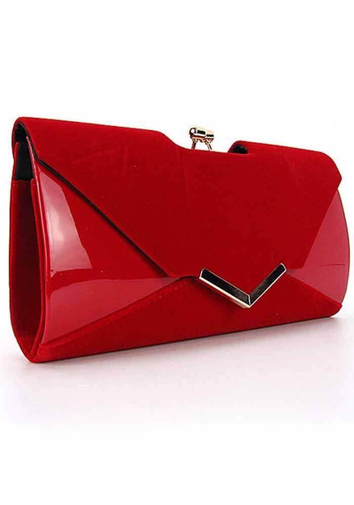 Красный лаковый женский клатч Rose Heart 002