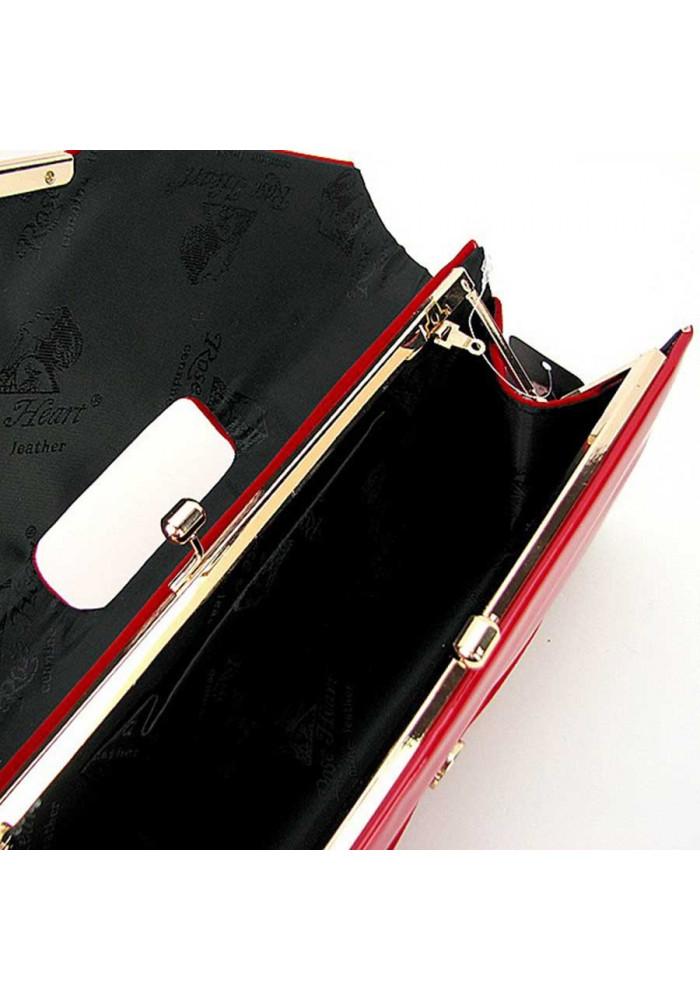 aa806a54dfa4 Красный лаковый женский клатч Rose Heart 002, фото №6 - интернет магазин  stunner.